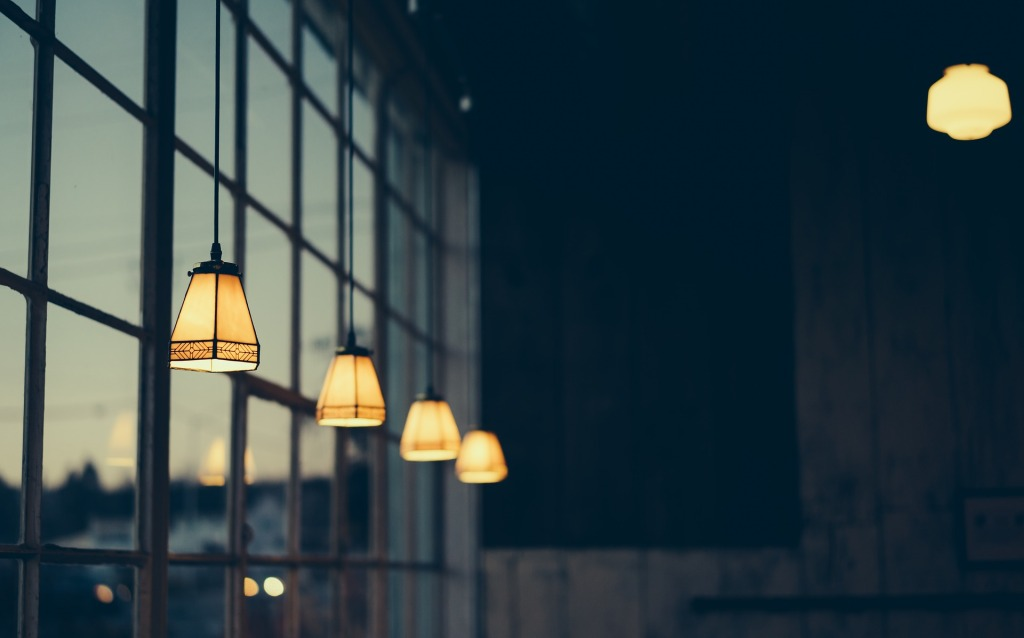 lighting at dusk along windows