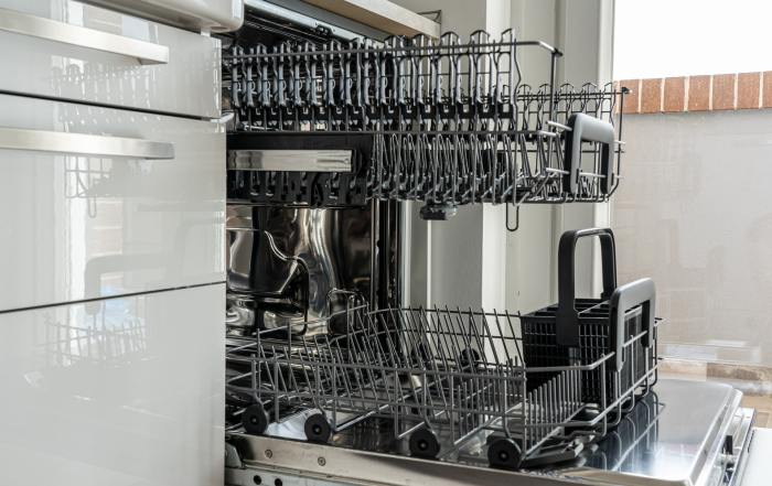open dishwasher rack pulled out
