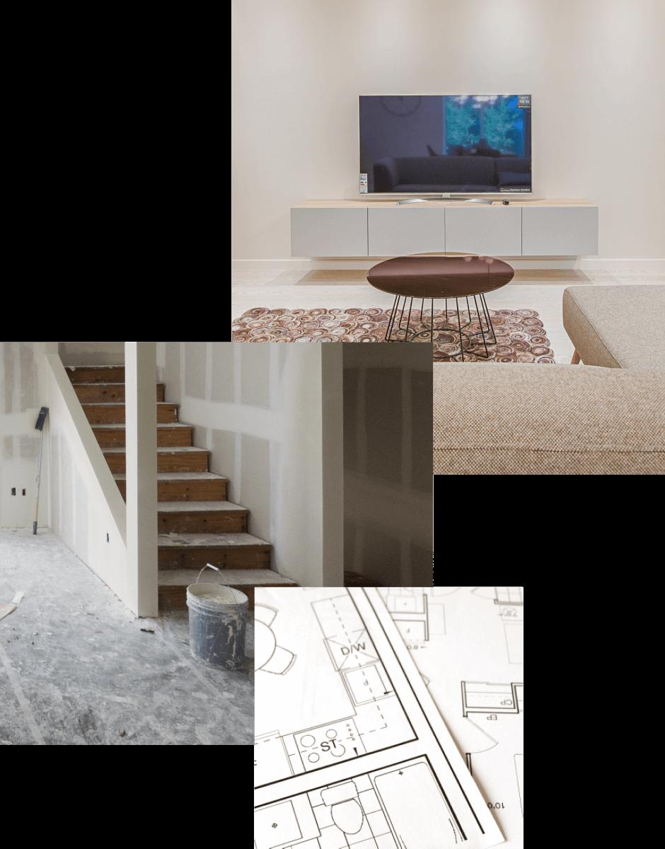 collage de photos de sous-sol