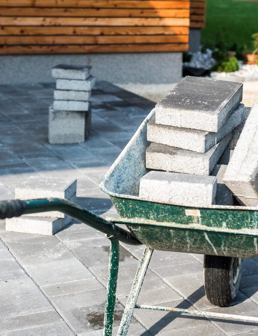 installation de dalles de béton