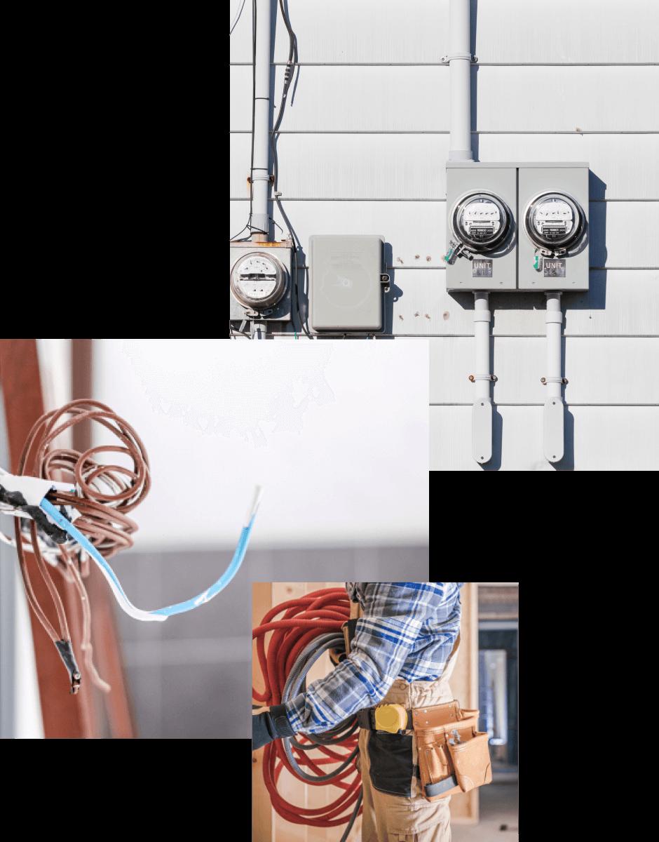 collages photos travaux d'électricité