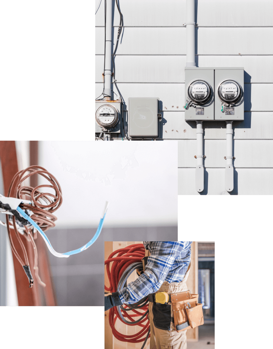 Electricity renovation photo collage