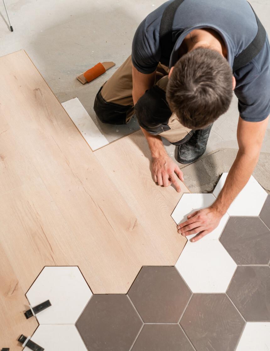 install new flooring tile hardwood hex
