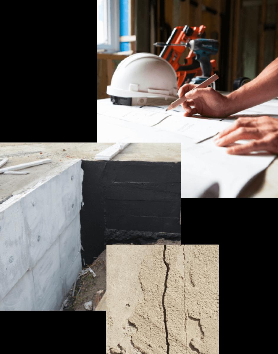 collages photos réparation de fondation