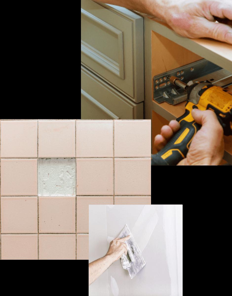 home renovation tile cabinet work bathroom