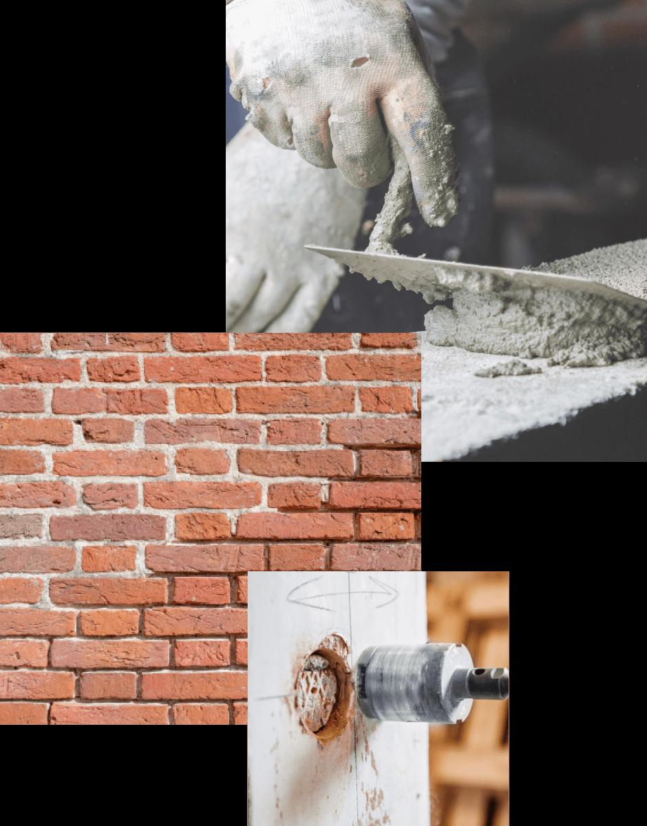 collage photo de travaux de maçonnerie